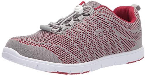Propet Women's Travel Walker Evo Sneaker, Grey/Crimson, 10 xx_Wide US