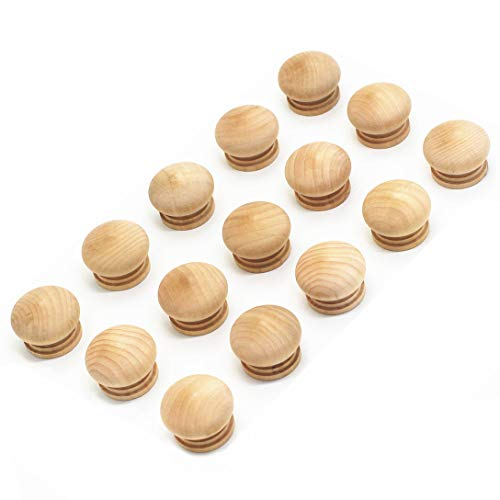 WEICHUAN 15PCS Round Wood Unfinished Cabinet Furniture Drawer Knobs Pulls Handles (Diameter: 1-1/2 Inches Height: 1 Inch)