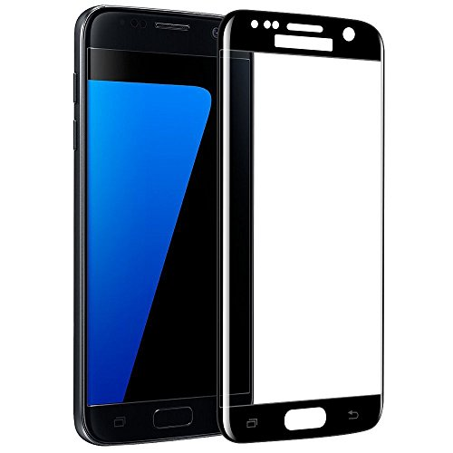 J&H [2 unidades] Samsung Galaxy S7 Edge Protector de pantalla de cristal templado – Protector de pantalla de cobertura completa transparente para Samsung Galaxy S7 Edge (negro)