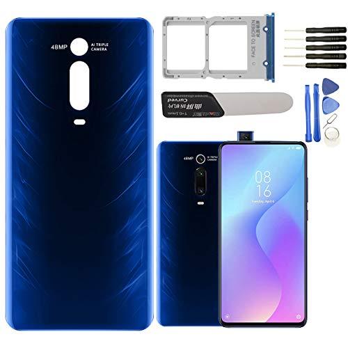 YHX-OU - Tapa de batería trasera de repuesto para Xiaomi MI 9T 9T Pro + Herramienta de instalación + 1 SIM Card Tray (azul)