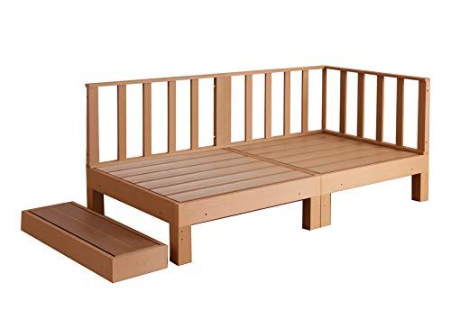 ウッドデッキ 腐らない ガード 柵 踏み台 連結可能 縁側 庭 縁台 人工木 シンプル デッキ DIY ガーデンデッキ ガーデンベンチ ウッドパネル 頑丈 屋外 ベランダ 樹脂 (5点セット, LBRライトブラウン)