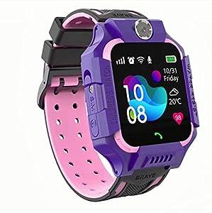linyingdian Smartwatch Niños,Reloj Inteligente Niños con Flashlight, IP67 LBS SOS, Cámara, Smartwatch con Ranura para Tarjeta SIM, Regalo Niño Niña de 3-12 Años Compatible con iOS/Android (Púrpura)