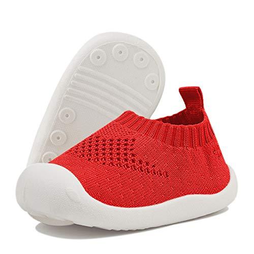 DEBAIJIA Lauflernschuhe Babyschuhe 1-4 Jahre Kinder Schuhe Jungen Mädchen Weiche Sohle Segeltuch Turnschuhe Rot 18 EU