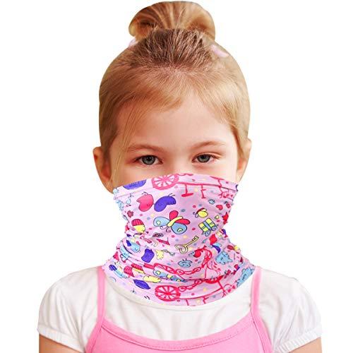 Kids Neck Gaiter Face Mask Cooling cover Girls Bandana, Pink Butterfly Balaclava Protective Reusable, Multi Function Breathable Washable Summer tapa bocas para niñoscubre bocas para niños lavables