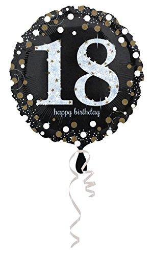 Geburtstag 18 Folienballon Helium mit Ballongas gefüllt Gold Silber Hologramm 45cm
