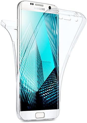 moex Double Case für Samsung Galaxy S7 Edge Hülle Silikon Transparent, 360 Grad Full Body Rundum-Schutz, Komplett Schutzhülle beidseitig, Handyhülle vorne und hinten - Klar