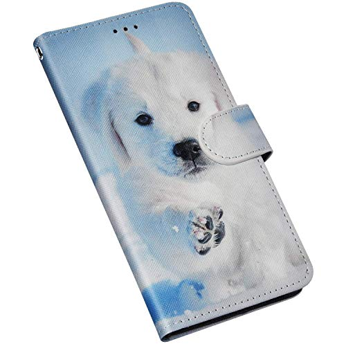 QPOLLY Cover Portafoglio Compatibile con Huawei P8 Lite 2017, Custodia in Pelle PU a Libro Leather Flip Magnetica Funzione Supporto Caso con Disegni Porta Carta Tasca di Credito Cover,Cane