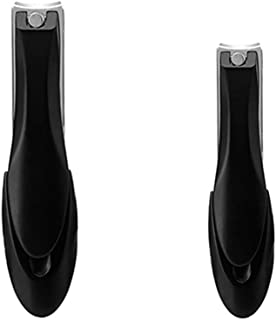Pinkiou No Splash Nail Clippers Set with Catcher Shell Curved Nail File Stainless Steel Sharp Durable Nail Cuticle Cutter Trimmer Manicure Pedicure Tool for Fingernail Toenail Small & Large(Black)