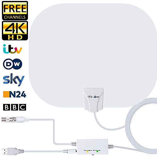 2020 Newest Indoor TV Aerial, Freeview TV Aerial 150 Miles Long Range with...
