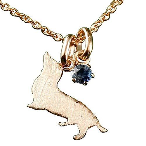[アトラス] Atrus ネックレス メンズ 18金 ピンクゴールドk18 ブルーサファイア 一粒 犬 ダックスフンド ペンダント トップ 9月誕生石 チェーン(sv925ピンクメッキ)
