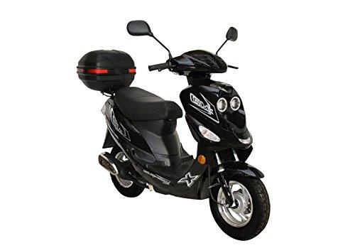 Roller GMX 550 Mokick 45 km/h Schwarz + Topcase 2,4 KW/3,3 PS/Luftgekühlt/Alufelgen/Gepäckträger/Scheibenbremse/Teleskopgabel Hydraulisch/ab 16 Jahren