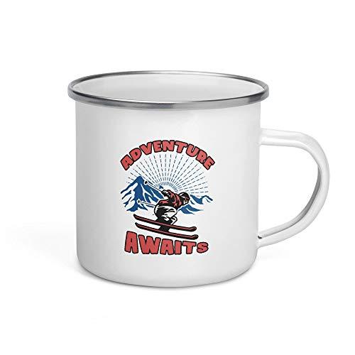 Taza de café esmaltada de 10 onzas para esquiadores de aventura, regalos de esquí para deportes de invierno y amantes de la montaña, esquiador, regalo para snowboarders