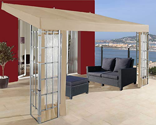 QUICK STAR Rank Anbau 3x4m Sand Anbaupavillon Terrassendach