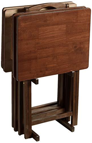 PJ Wood 5-piece Folding TV Tray & Snack Table - Walnut Finish Rubberwood
