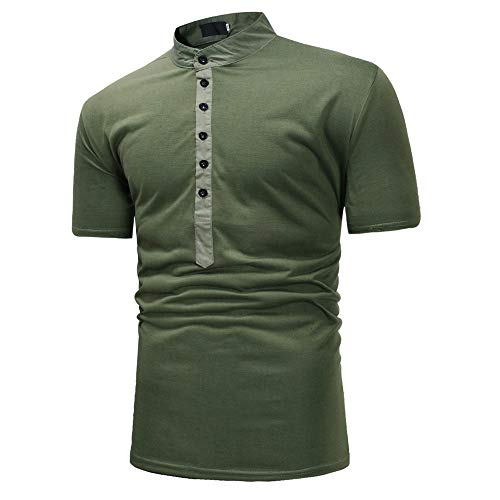 TWIFER Herren Sommer Bluse Lässige Solid Patchwork Stehkragen V-Ausschnitt Kurzarm T-Shirt Top