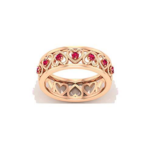 Anillo de eternidad de corazón de rubí, anillo de boda de banda ancha, anillo de piedras preciosas de julio, anillo de promesa para ella, 14K Oro rosa, Size:EU 52