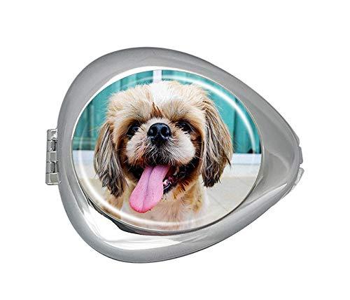 Leuke hond gezicht met tong uitsteken wachten zijn voedsel pil doos geval, mode aangepaste ovale geneeskunde case vitamine pil organisator houder voor portemonnee
