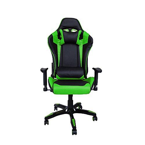 huigou HG® Bürodrehstuhl Racing Stuhl Chefsessel Premium gepolsterte Armlehnen Belastbarkeit 200 kg Ergonomischer Einstellbare Exekutivbüro Schreibtischstuhl schwarz/grün