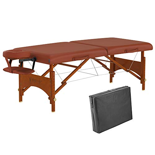 """Master Massage 28"""" Fairlane Portable Massage Table, Massage Couch Folding, Physiotherapy Bed with Free Carrying Case and Adjustable Face Cradle(Cinnamon)…"""