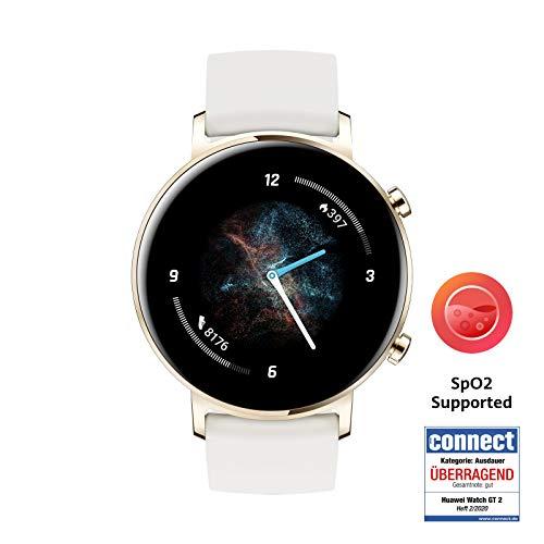 HUAWEI Watch GT 2 Smartwatch (42 mm Full-Color-AMOLED Touchscreen, SpO2-Monitoring, Herzfrequenzmessung, Musik Wiedergabe, 5ATM wasserdicht, GPS) Frosty White [Exklusiv +5 EUR Amazon Gutschein]