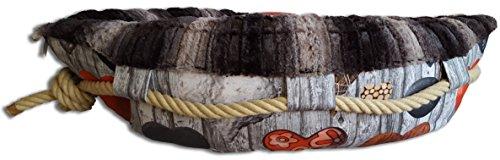 norrun Hundebett Hundekörbchen Böötchen Modell Darcy Handmade Größe M waschbares Kleintierbett in Bootsform mit Wendekissen (Größe M, Darcy)