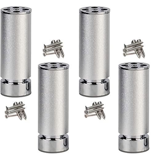 SBDLXY 4 Patas de Metal para Muebles, pies de sofá, pies de Apoyo, pies de aleación de Aluminio, reemplazo de Bricolaje, Patas de gabinete, pies Protectores, Altura Ajustable de 0,8 mm, con tornill