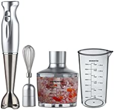 OVENTE HS585S Multi-Purpose Immersion Hand Blender Set – 300-Watts, 2-Speed – Stainless Steel Blades and Detachable Shaft – Includes Food Chopper, Egg Whisk, Beaker, Silver