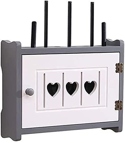 JXYQ Estante Flotante Caja de Almacenamiento WiFi Estante de Madera para enrutador Estante de Almacenamiento Multifuncional Caja ordenadora de Cables Estante de Almacenamiento de enruta