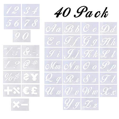 Plantillas de letras de 40 piezas para pintar sobre madera, plantillas de letras con números y signos, plantillas de plástico reutilizables con letras de mayúsculas y letras de caligrafía