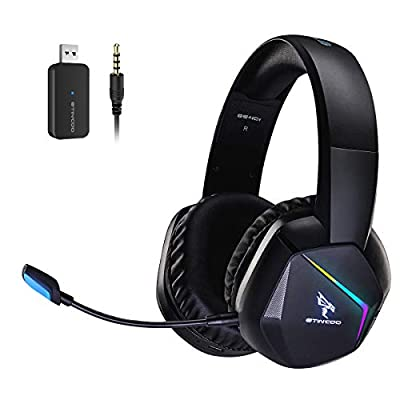SOMiC 2.4G Wireless Gaming Headset for PS4, PS5, PC, with Detachable Mic and RGB Rainbow LED, Surround Sound, Bass, Over Ear Headphone with Game/Audio/Live Broadcast Sound Mode, Wireless/Wired Use from Somic