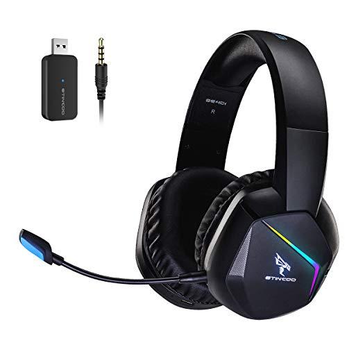 SOMiC 2.4G - Cuffie da gioco wireless per PS4, PS5, PC con microfono rimovibile e LED RGB arcobaleno, suono surround, bassi, over-ear con modalità di gioco/audio/vivo broadcast