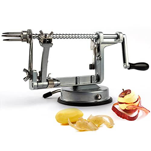 Heczy Apple Peeler - Adjustable Apple Peeler and Corer, Spiralizing function Apple Peeler Corer Slicer, Suitable for Vegetables, Easy to use, With Instruction Manual and Sturdy Suction Base