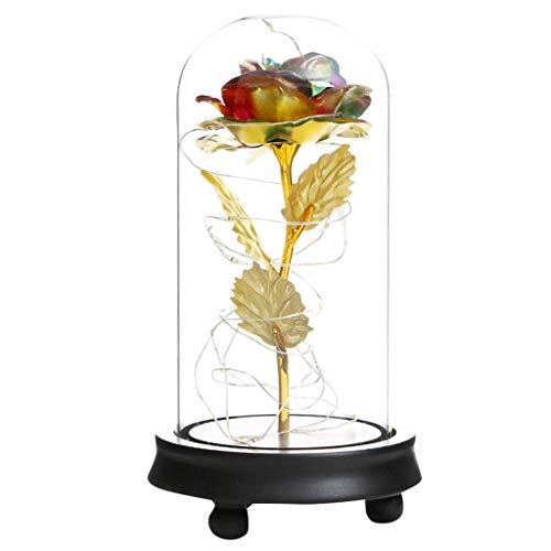 Andouy Rose Geschenk Kit, Eleganten Glaskuppel mit LED-Licht Pine Base, Wohnkultur für Geburtstag Valentinstag Muttertag Jahrestag(11x21.5cm.Mehrfarbig)
