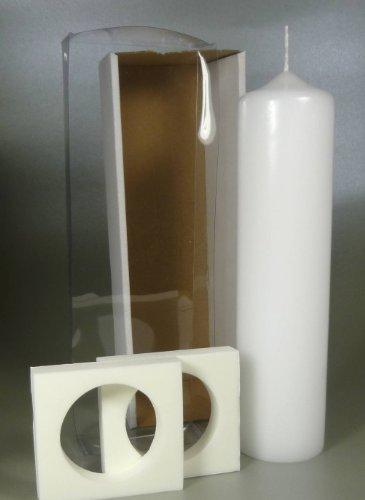 Stumpenkerze weiss für Taufkerze inkl. Klarsicht-Karton 25 x 6 cm - 4710 - Rundkerze 250x60 mm zum Basteln und Verzieren