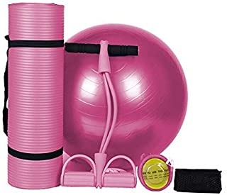 Yoga Set 3-Piece, Yoga Pilates Workout, Exercise kit Anti-Burst 65cm Yoga Ball Anti-Slip Yoga Mat 2 Strands of Tension Rope