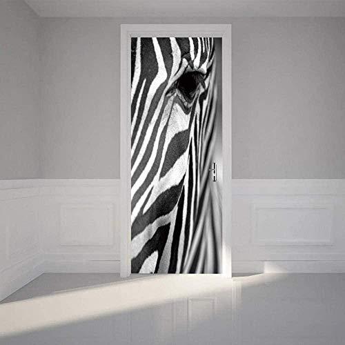 Papel tapiz de puerta de cebra, póster autoadhesivo para puerta, cuadro de pared autoadhesivo DIY, papel tapiz impermeable de PVC, 80X200CM