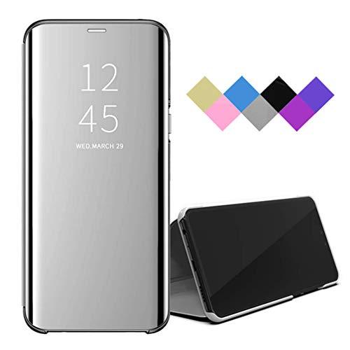 BRAND SET Funda para Xiaomi Redmi Note 9/Redmi 10X 4G Smart Mirror Flip Cover Funda Ultrafina para Teléfono a Prueba de Golpes con Función de Soporte Adecuado Carcasa para Redmi Note 9-Plata