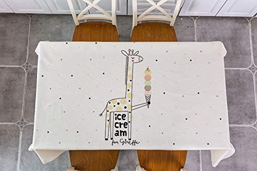 Elk Ours Lapin Pingouin Hibou Baleine Girafe Nappe rectangulaire Nouvel an noël Dessin animé Animal Lin Nappe imperméable A6 135x160cm