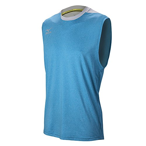 Mizuno Men's Cutoff Volleyball Jersey, Heathered Dude Blue/Silver, X-Small