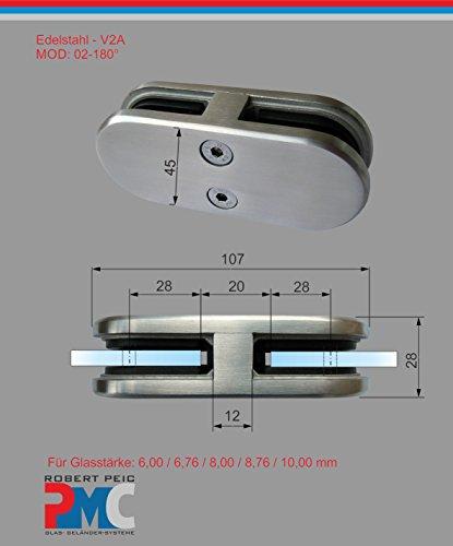 PMC Edelstahl Inox V2A Glashalter 180° Verbinder Glasklemme Glass Clamp MOD:02; 6,00 mm