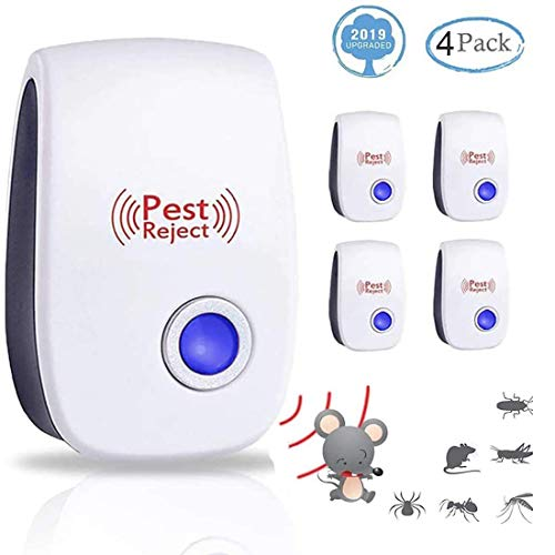 Ultraschall Schädlingsbekämpfer 4 Stück, 2020 Elektronische Insektenschutzmittel Innenräumen Pest Repeller für Kakerlaken, Mäuse, Fliegen, Mücken, Spinnen,100% harmlos für Haustiere und Menschen