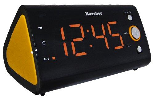 Karcher UR 1040-O Uhrenradio (PLL-Radio, Temperaturanzeige, Dual-Alarm) schwarz/orange