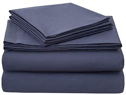 Bumble Towels Classic Luxury Supima Cotton Percale 4 Piece Bed Sheet Set - 100% American Grown Supima Cotton - Ultra Crisp, Smooth Finish Plush Sheets (Queen, Navy)