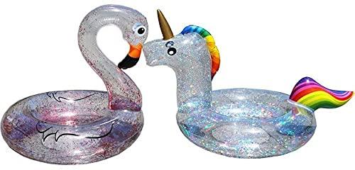 Schwimmreifen Schwimmen Flussfloatrohr, aufblasbare Schwimmröhrchen - 2020 Neue volle Transparente Pailletten Flamingo Einhorn Schwimmen Ring PVC Wasserring (Größe: Flamingo) (Size : Unicorn)