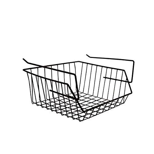 MSV Hängekorb aus Metall - 33x27x13cm - Schwarz - Aufbewahrungs-Korb für Küchenschränke Kleiderschränke Regale Unterbauschrank Unterbau-Regal