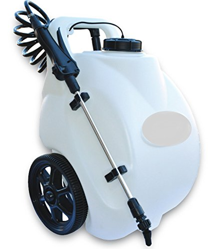 Garden Sprayer On Wheels 12 Volt Lithium Ion Rechargeable Battery Operated Pump Home Lawn Fertilizer Weed Killer Pesticide Dolly Cart Pressure Spot Sprayer