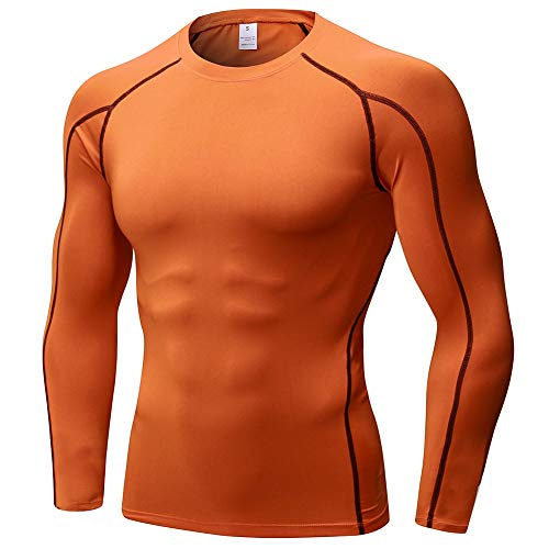 Camiseta de Compresión de Manga Larga Hombre Deportiva Fitness Gimnasio Tops T-Shirts Térmica Naranja XXL