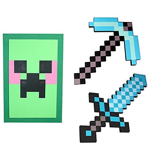 WXXT Schwert Kinder Schaumstoff,Diamantschwert,Schaum Sword,Diamant-Pixel-Axt,Diamant-Pixel-Schwert,Minecraft-Schild,Diamant-Pixel-Pistole,Waffen-Requisiten (6 Kombinationen zur Auswahl)