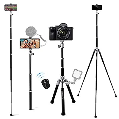 Phone Tripod, COMAN 3 in 1 Camera Tripod and Selfie Stick Tripod with Bluetooth Remote 57 inch Compatible with iPhone by COMAN