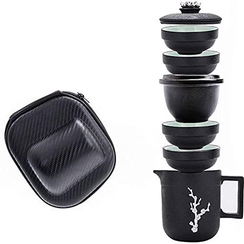 MISS KANG Juego de té de bambú con bolsa de viaje de almacenamiento, juego de té portátil para 4 personas en casa, oficina, viajes para el hogar Qingchunw